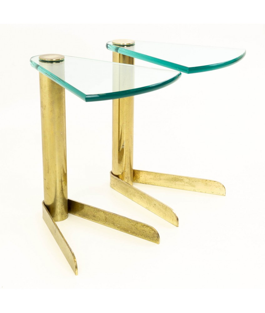 pair of pace mid century brass glass occasional side end tables