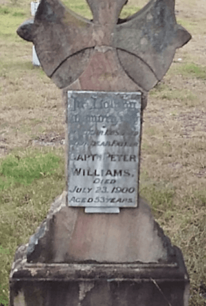 Headstone of Captain Peter Williams, Tuncurry Anglican Cemetery. Photo by J Roberts.