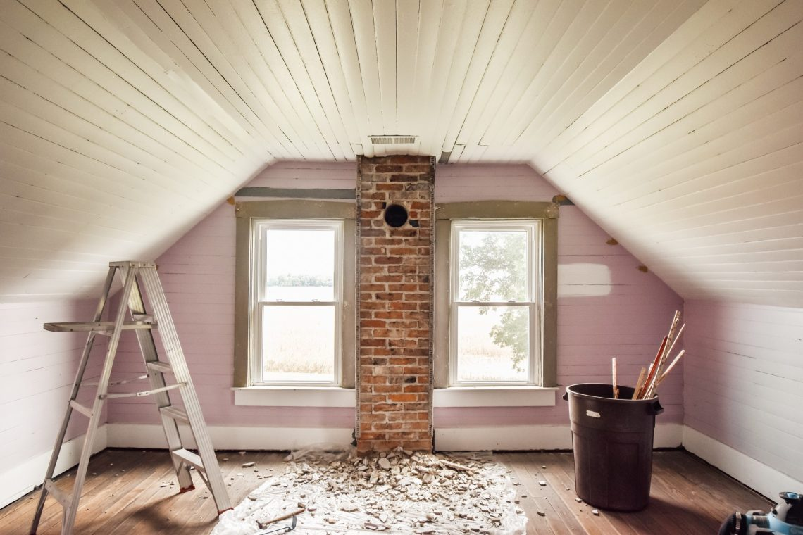 DIY Exposed Brick Chimney