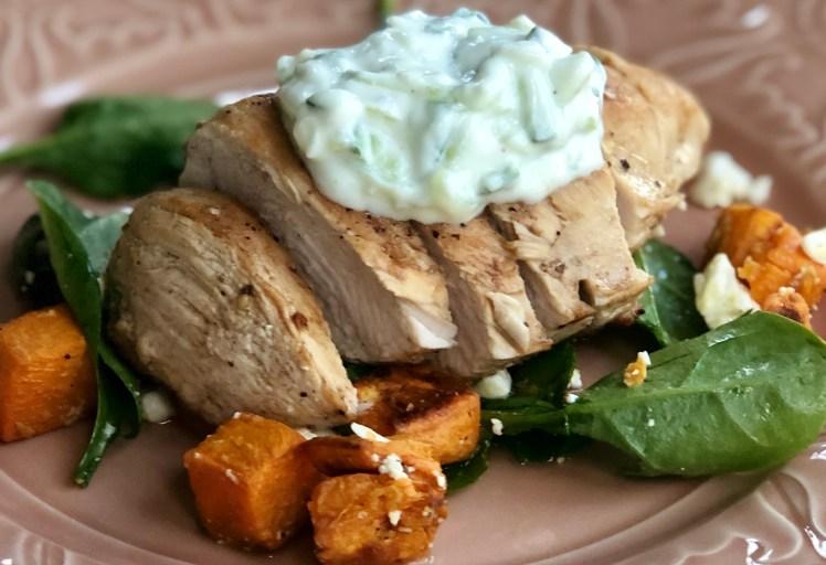 Kyckling recept sötpotatis tzatziki