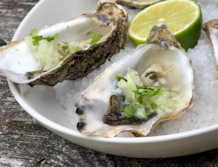 Ostron med tillbehör recept lime gurka koriander
