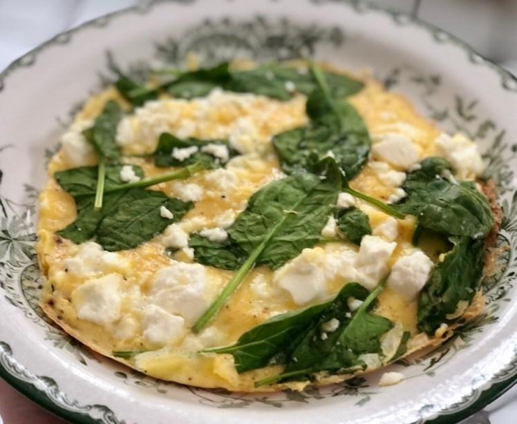 Recept omelett fetaost och spenat
