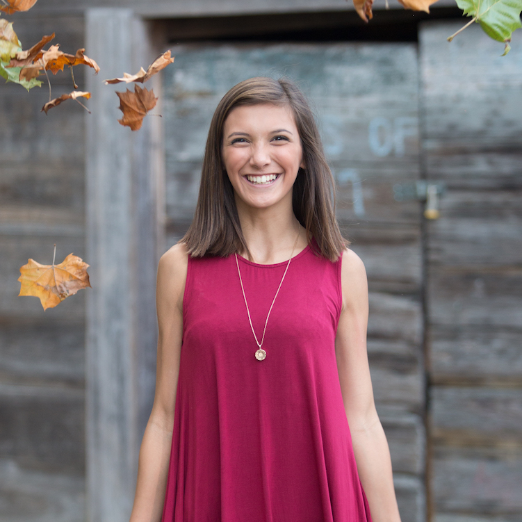 Senior Photography - Senior girl in magenta dress in front of wood cabin