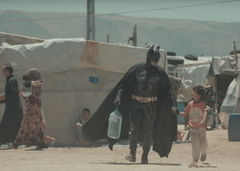 (File pix)The video produced for charity War Child Holland shows the Caped Crusader running around a dusty refugee camp in Lebanon with an eight-year-old Syrian boy, Kadar. (Pix screenshot of YOUTUBE)