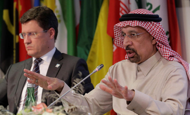Saudi Arabia's Oil minister Khalid Al Faleh, right, and Russian Energy minister Alexander Novak adress a news conference after an opic meeting in vienna ,REUTERS