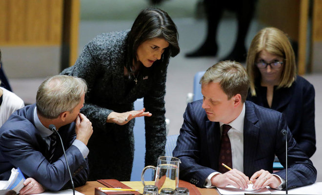 US Ambassador to the UN Nikki Haley speaks to Stephen Hickey, Political Co-ordinator at the UK Mission to the UN and Swedish Ambassador to the UN Olof Skoog before the UN Security Council vote for cease-fire to Syrian bombing in eastern Ghouta, at the United Nations headquarters in New York. (File Photo: Reuters)