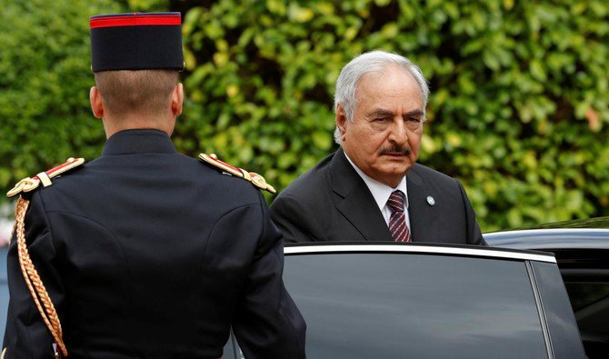 File photo showing Khalifa Haftar, commander of the Libyan National Army, arrives for talks over a political deal to end Libya's crisis in La Celle-Saint-Cloud, near Paris, July 25, 2017. (Reuters)