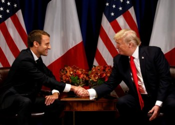 FILE PHOTO - U.S. President Donald Trump meets French President Emmanuel Macron in New York, U.S., September 18, 2017. REUTERS/Kevin Lamarque