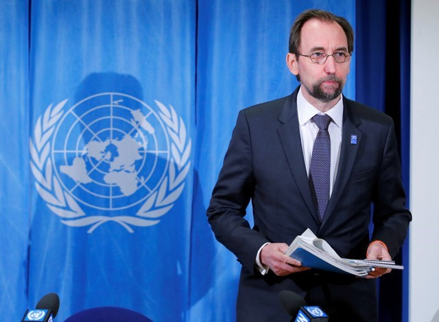 FILE PHOTO: Zeid Ra'ad al-Hussein, U.N. High Commissioner for Human Rights arrives for a news conference at the United Nations in Geneva, Switzerland March 9, 2018. REUTERS/Denis Balibouse