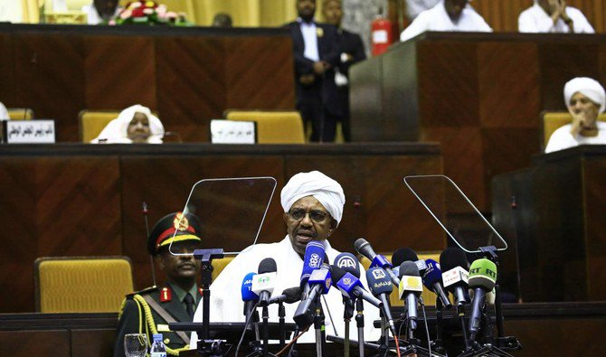 Sudan President Omar al-Bashir delivers a speech to the members of the parliamentary body of the ruling National Congress Party on April2,2018 in the capital Khartoum AFP