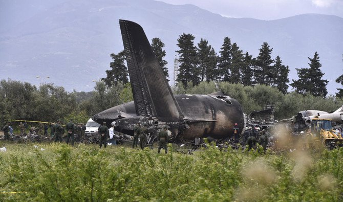 The Algerian army plane which crashed near the Boufarik airbase from where the plane had taken off on April 11,2018/ AFP