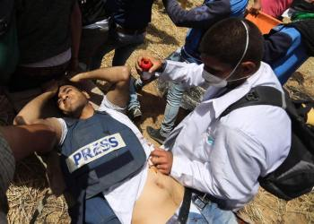 Freelance potographer Yaser Murtaja was shot in the abdomen Friday by Israeli troops while filming demonstrations at the Gaza-Israel border.