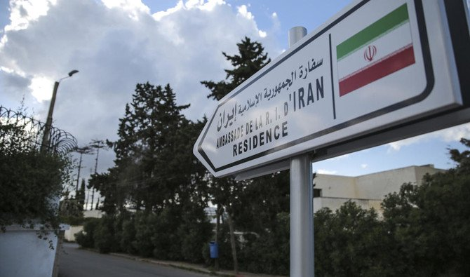 A street sign is posted at the entrance of the embassy of Iran in Rabat, Morocco, Tuesday, May 1, 2018. Morocco will sever diplomatic ties with Iran over Tehran's support for the Polisario Front, a Western Sahara independence movement, the Moroccan foreign minister said on Tuesday. (AP/Mosa'ab Elshamy)