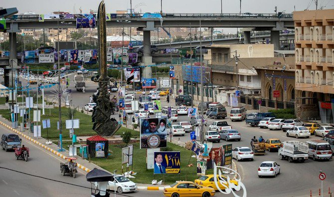 This picture taken on May 7, 2018, in Najaf shows electoral posters ahead of Iraq's parliamentary elections to be held on May 12. (Haidar Hamdani/AFP)