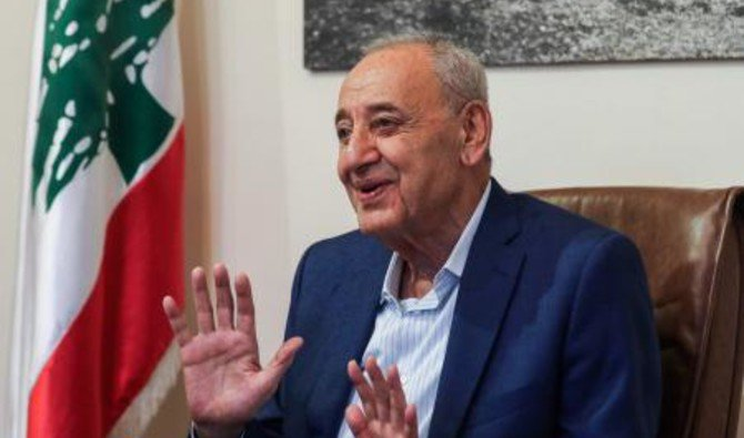 Photo showing longtime Lebanese Parliament Speaker Nabih Berri gives an interview with AFP in his home on Msaileh, south of the southern port city of Sidon, Lebanon, May 8, 2018. (AFP)