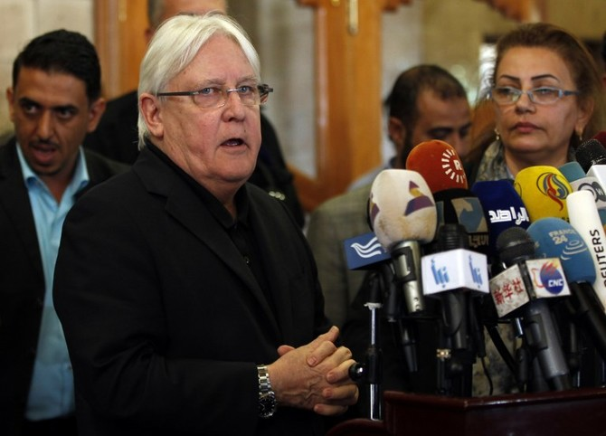 The United Nations Special Envoy to Yemen Martin Griffiths speaks to the press upon his arrival at Sanaa international airport on March 24, 2018. / AFP PHOTO / MOHAMMED HUWAIS