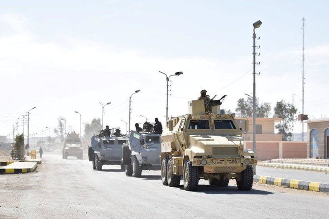 Vehicles of Egyptian Army and police special forces are seen in the troubled northern part of the Sinai peninsula (Ministry of Defense/Handout via Reuters)