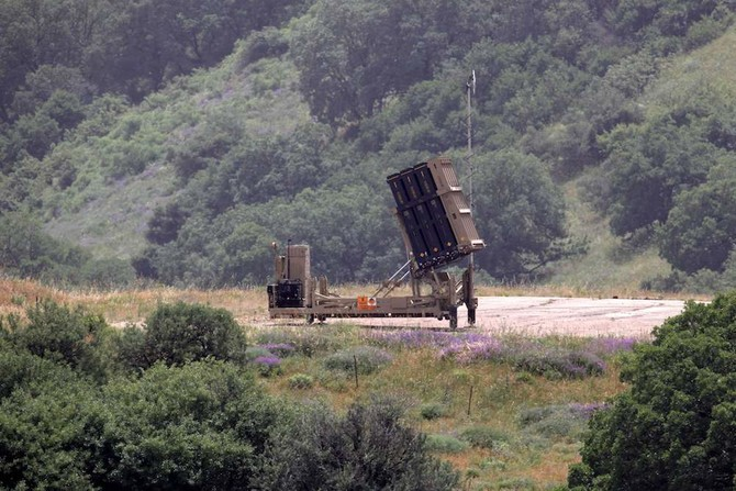 This picture taken on May 7, 2018, shows an Israeli Iron Dome defense system, designed to intercept and destroy incoming short-range rockets and artillery shells.  Syria. / AFP / JALAA MAREY