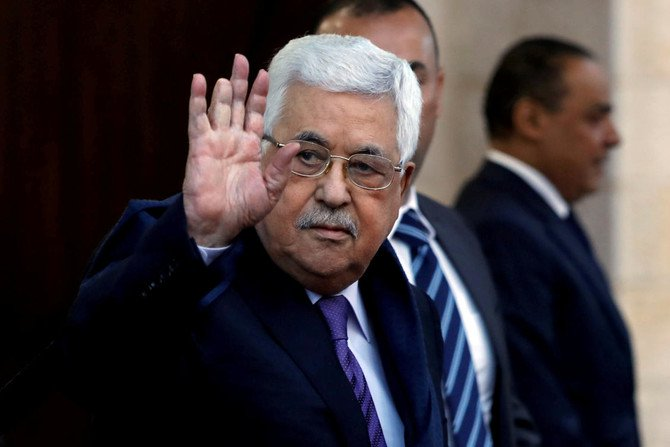 Palestinian President Mahmoud Abbas waves in Ramallah, in the occupied West Bank May 1, 2018. (Reuters)