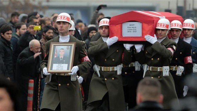 An honor guard carries the coffin of a Turkish soldier killed in clashes with PKK fighters, in Ankara, in 2015. (AP Photo)