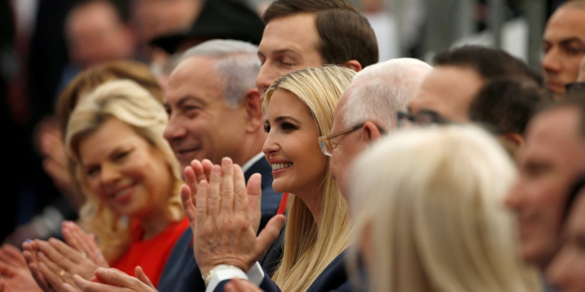 Israeli Prime Minister Benjamin Netanyahu, his wife Sara Netanyahu and Senior White House Advisers Jared Kushner and Ivanka Trump applaud during the dedication ceremony of the new U.S. embassy in Jerusalem, May 14, 2018. REUTERS/Ronen Zvulun