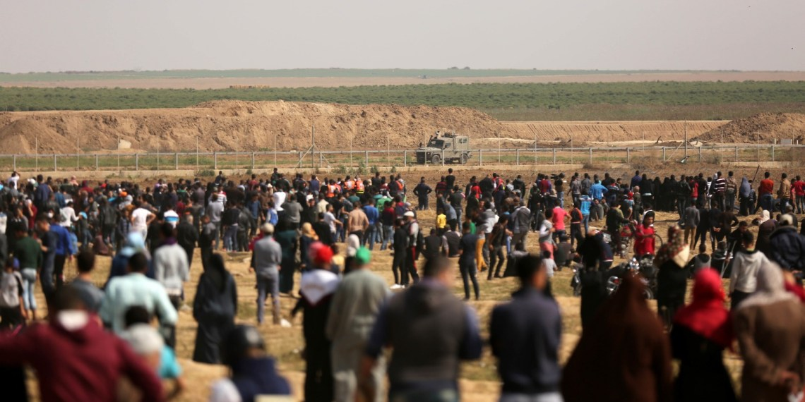 Protestors at the east of Gaza-strip on Monday 14 2018, (social media )