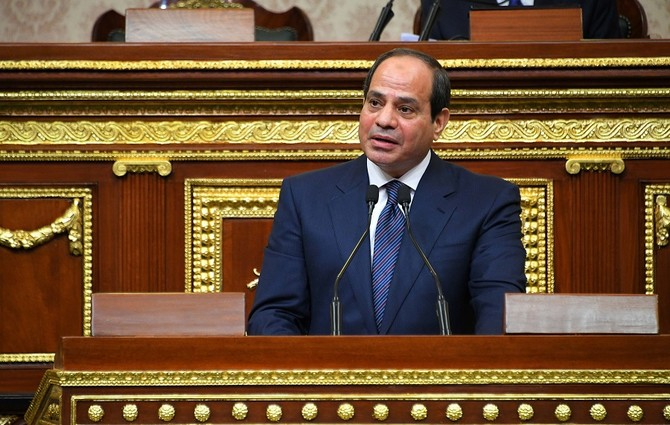 "A handout picture released by the Egyptian Presidency on June 2, 2018 shows Egyptian President Abdel Fattah al-Sisi giving a speech during his swearing in ceremony for a second four-year term in office, at the parliament meeting hall in the capital Cairo. Sisi took the oath in a packed house and in front of members of his government, after winning 97 percent of valid votes in the March presidential election which he faced with no serious competition. / AFP PHOTO / EGYPTIAN PRESIDENCY / - / === RESTRICTED TO EDITORIAL USE - MANDATORY CREDIT ""AFP PHOTO / HO / EGYPTIAN PRESIDENCY' - NO MARKETING NO ADVERTISING CAMPAIGNS - DISTRIBUTED AS A SERVICE TO CLIENTS =="