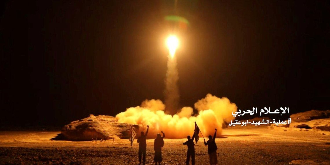 FILE PHOTO: A photo distributed by the Houthi Military Media Unit shows the launch by Houthi forces of a ballistic missile aimed at Saudi Arabia March 25, 2018. Houthi Military Media Unit/Handout via Reuters/File Photo