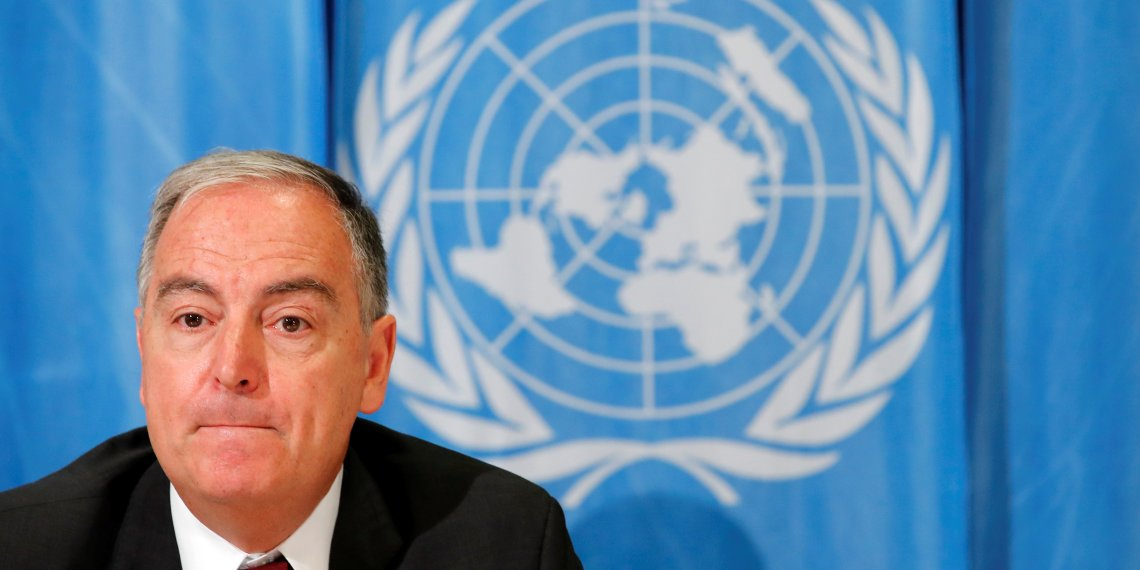 Panos Moumtzis, United Nations humanitarian coordinator on the Syria crisis attends a news conference on the latest developments regarding humanitarian access in Syria, in Geneva, Switzerland June 11, 2018. REUTERS/Denis Balibouse