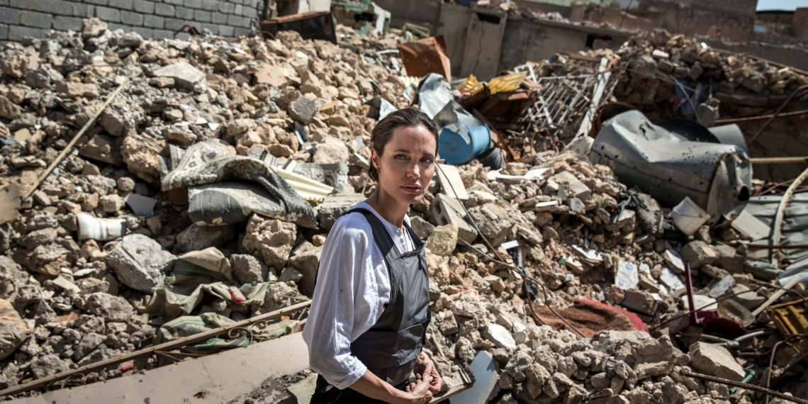 UNHCR Special Envoy Angelina Jolie visits the Old City in West Mosul, Iraq June 16, 2018. UNHCR/Andrew McConnell/Handout via REUTERS