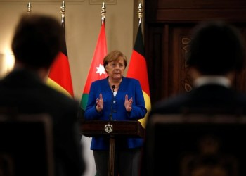 German Chancellor Angela Merkel speaks during a news conference at the Royal Palace in Amman, Jordan June 21, 2018. REUTERS/Muhammad Hamed