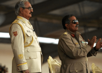 Khalifa Haftar (L) and Libyan National Army's Chief Of Staff Abdelrazak al-Nadhuri attend a military parade in the eastern city of Benghazi on May 7, 2018. (FIle photo: AFP)