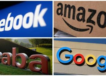 FILE PHOTO: Facebook, Amazon, Alibaba and Google logos are seen in this combination photo from Reuters files. REUTERS/Files
