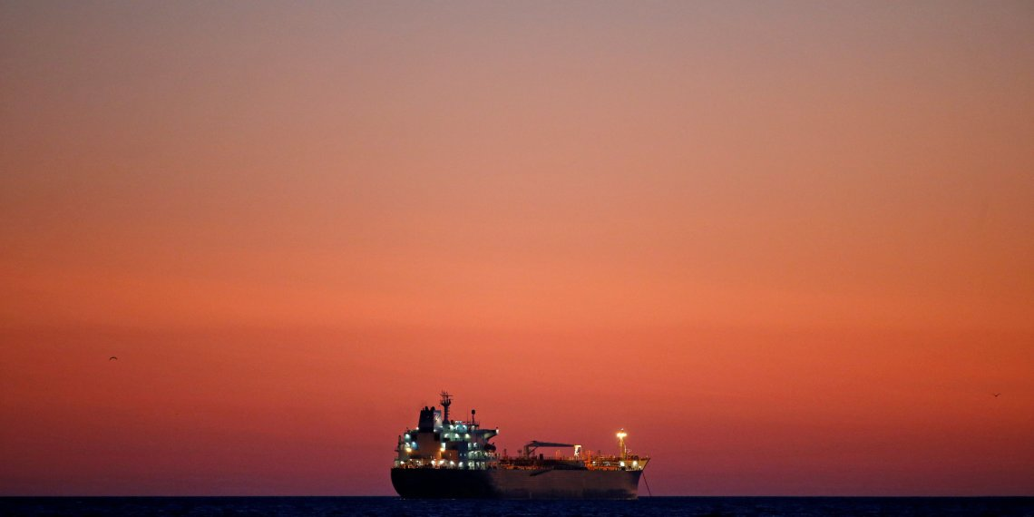 FILE PHOTO: An oil tanker is seen at sunset anchored off the Fos-Lavera oil hub near Marseille, France, October 5, 2017. REUTERS/Jean-Paul Pelissier/File Photo