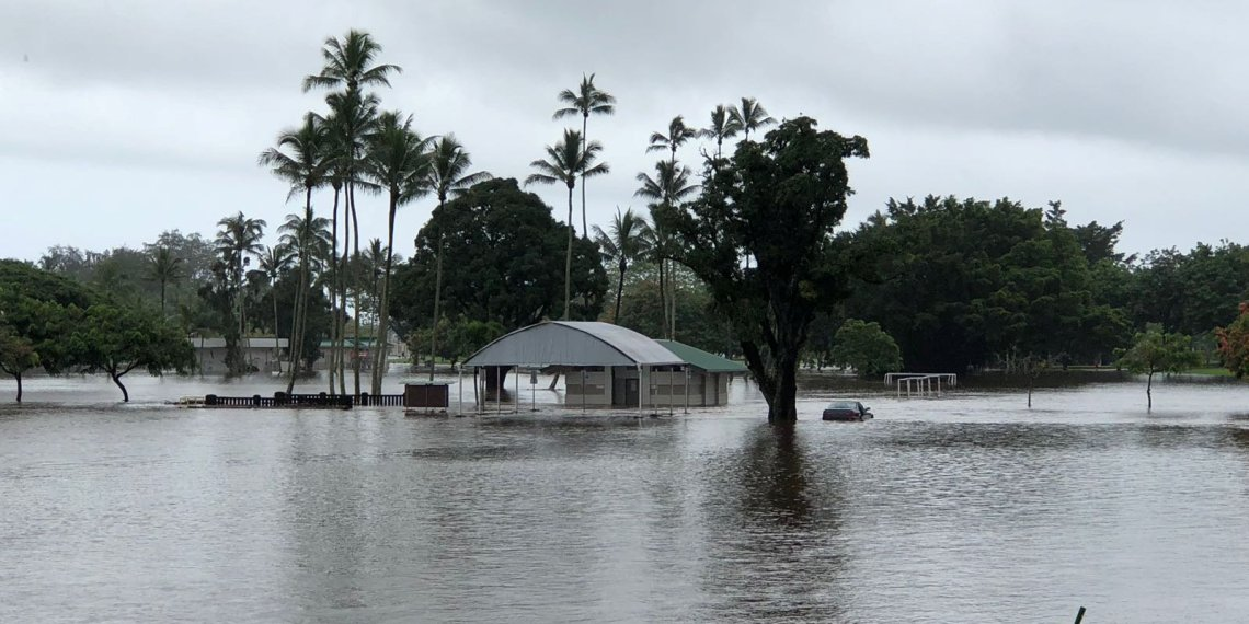 A general view shows heavy flooding affecting Hilo, Hawaii, U.S. August 23, 2018 in this picture obtained from social media. Ace Norton/via REUTERS