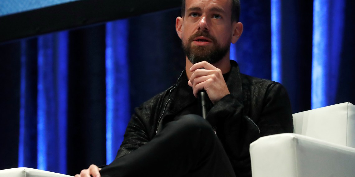 FILE PHOTO - Jack Dorsey, CEO and co-founder of Twitter and founder and CEO of Square, speaks at the Consensus 2018 blockchain technology conference in New York City, New York, U.S., May 16, 2018. REUTERS/Mike Segar