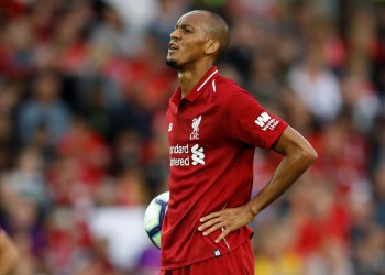 FILE PHOTO: Soccer Football - Pre Season Friendly - Liverpool v Torino - Anfield, Liverpool, Britain - August 7, 2018 Liverpool's Fabinho prepares to take a penalty Action Images via Reuters/Carl Recine