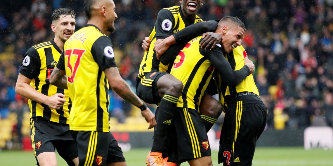 Soccer Football - Premier League - Watford v Crystal Palace - Vicarage Road, Watford, Britain - August 26, 2018 Watford's Jose Holebas celebrates scoring their second goal with Abdoulaye Doucoure, Etienne Capoue and team mates REUTERS/David Klein