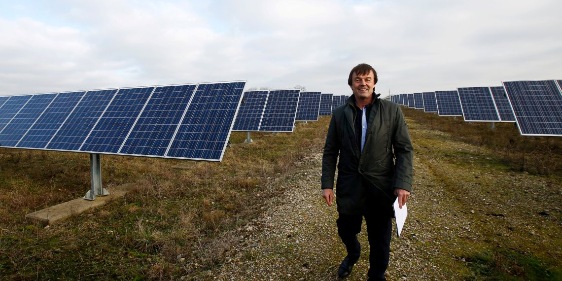 FILE PHOTO: French Minister for Ecological and Inclusive Transition Nicolas Hulot poses during a visit at a photovoltaic power plant in Allonnes near Le Mans, France January 8, 2018. REUTERS/Stephane Mahe/File Photo