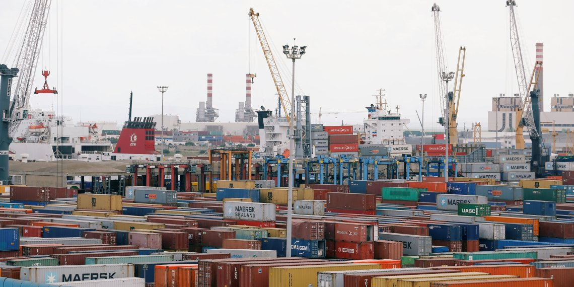 FILE PHOTO: View of containers at a loading terminal in the port of Rades in Tunis, Tunisia August 15, 2018. REUTERS/Zoubeir Souissi/File Photo