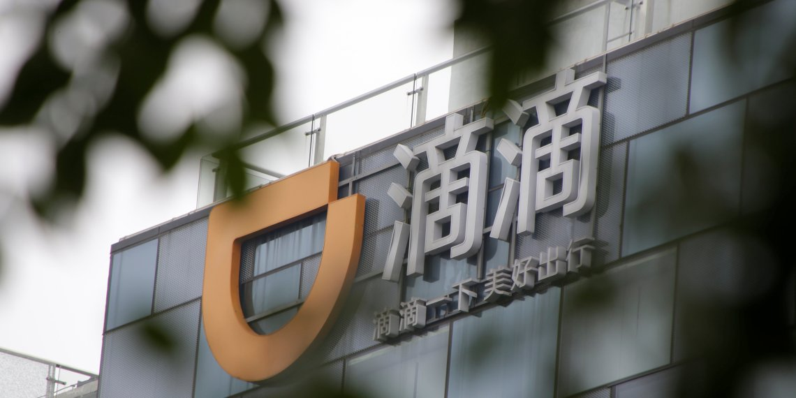 Logo of Didi Chuxing is seen at its headquarters building in Beijing, China August 28, 2018. REUTERS/Jason Lee