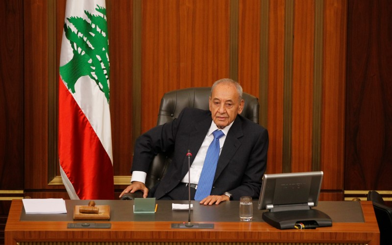 FILE PHOTO: Lebanese Parliament Speaker Nabih Berri heads a general parliament discussion in downtown Beirut, Lebanon October 18, 2017. REUTERS/Mohamed Azakir