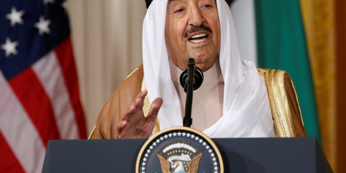 FILE PHOTO: Kuwait's Emir Sheikh Sabah Al-Ahmad Al-Jaber Al-Sabah addresses a joint news conference with U.S. President Donald Trump in the East Room of the White House in Washington, U.S., September 7, 2017. REUTERS/Kevin Lamarque/File Photo
