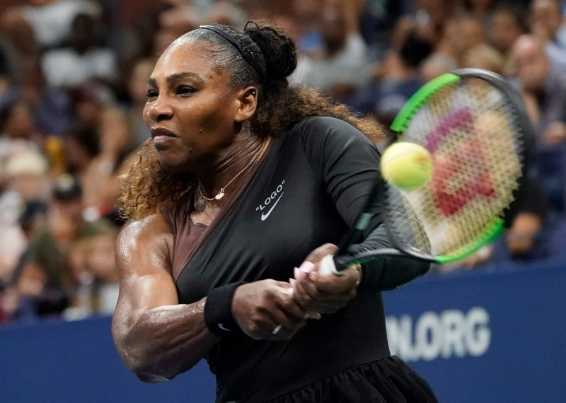 Aug 31, 2018; New York, NY, USA; Serena Williams of the USA hits to Venus Williams of the USA (not pictured) in a third round match on day five of the 2018 U.S. Open tennis tournament at USTA Billie Jean King National Tennis Center. Mandatory Credit: Robert Deutsch-USA TODAY Sports