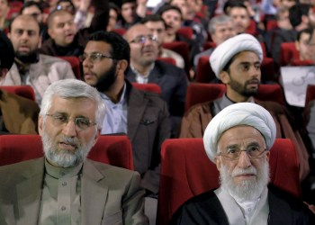 "FILE PHOTO: Ayatollah Ahmad Jannati (R), a candidate for the upcoming vote on the Assembly of Experts, and Iran's former chief negotiator Saeed Jalili attend a conservatives election campaign gathering in Tehran February 24, 2016. The campaign gathering was titled ""No to UK Meddling"". REUTERS/Raheb Homavandi/TIMA"
