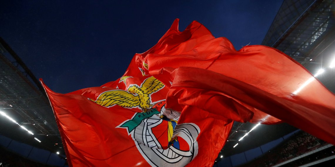 FILE PHOTO: Soccer Football - Champions League - S.L. Benfica vs Manchester United - Estadio da Luz, Lisbon, Portugal - October 18, 2017 A general view of a S.L. Benfica flag inside the stadium before the match Action Images via Reuters/Carl Recine/File Photo