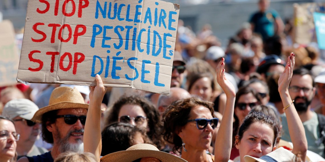 Environmental activists gather to urge world leaders to take action against climate change in Marseille, France, September 8, 2018. REUTERS/Jean-Paul Pelissier