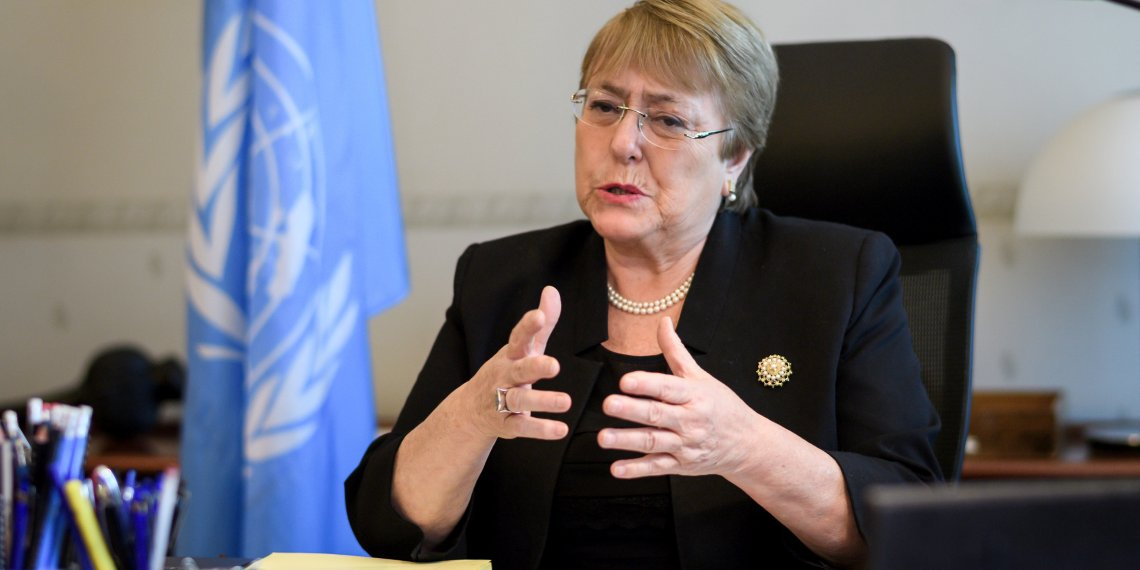FILE PHOTO: Former Chilean president Michelle Bachelet speaks from her office at the Palais Wilson on her first day as new United Nations (UN) High Commissioner for Human Rights in Geneva, Switzerland, September 3, 2018.  Fabrice Coffrini/Pool via REUTERS