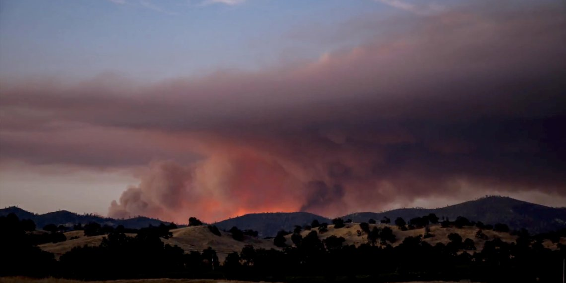 Smoke rises as the large fire spread along Pope Valley in California, U.S., September 8, 2018 in this picture obtained on September 8, 2018 from social media. Craig Philpott/via REUTERS