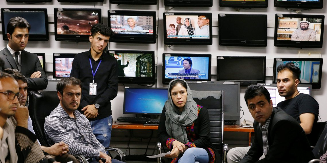 Afghan journalists attend a meeting in the Tolo newsroom, in Kabul, Afghanistan September 7, 2018. REUTERS/Omar Sobhani